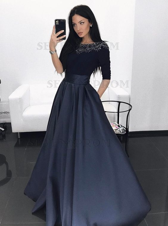 half sleeve beaded prom dresses long satin vintage black elegant prom gown