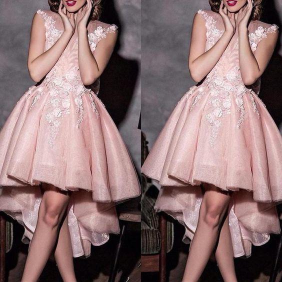 robe de soiree high low prom dresses pink Lace Applique floral elegant cap