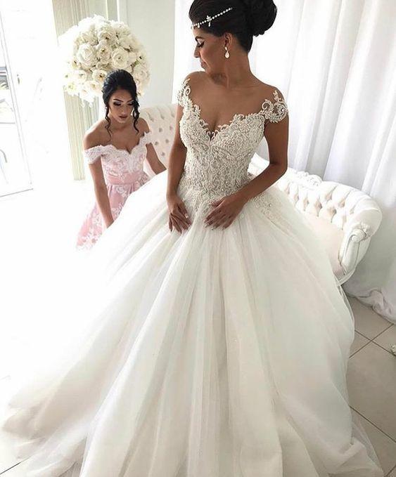 cap sleeve off white wedding dresses boho Lace Applique beaded peal elegant