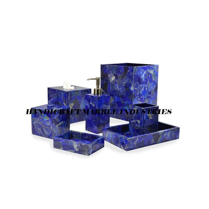 7 Pcs. Lapis lazuli Bathroom sets, Bathroom Accessories/ Bathroom decor /Perfect