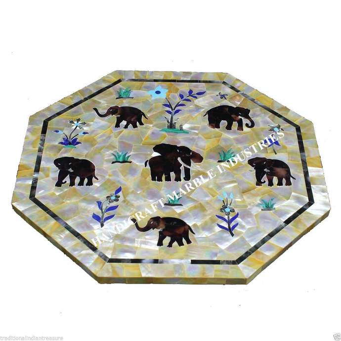 Herd / Parade of Elephants Marble Table Decor Living Room Patio Modern Home