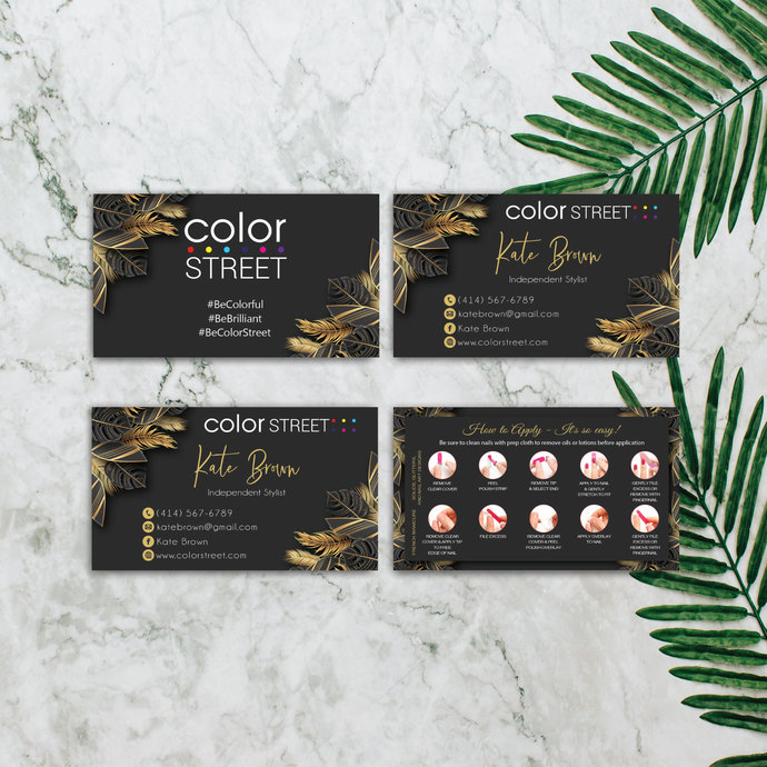 GOLDEN LEAVES COLOR STREET BUSINESS CARDS, PERSONALIZED COLOR STREET APPLICATION
