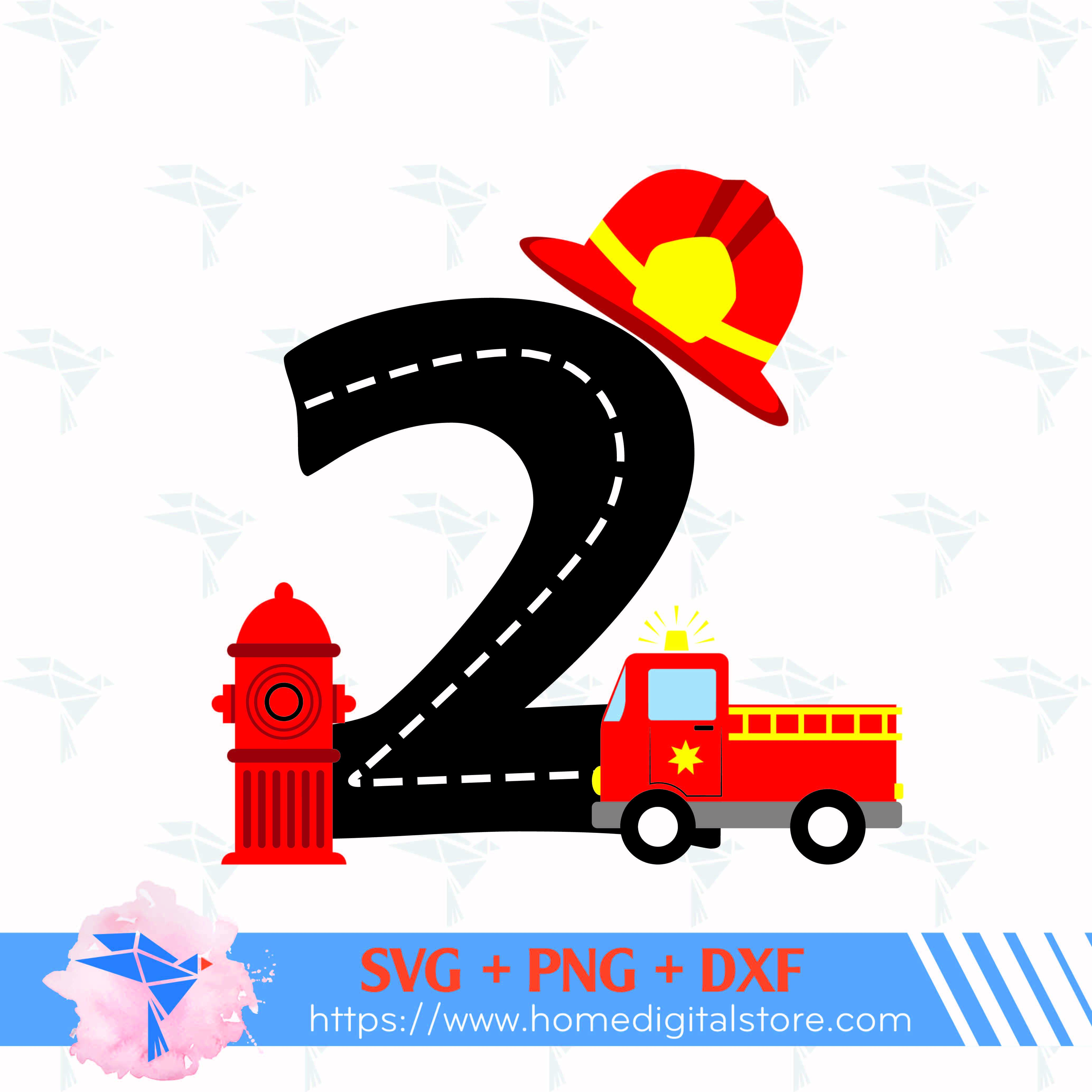 Fire Truck 2nd Birthday Svg Png Dxf By Homedigitalstore On Zibbet