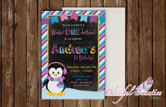 Winter Wonderland First Birthday Invitation