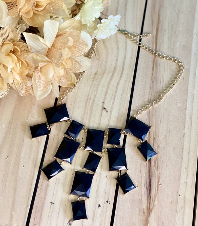 Black and Gold Square Necklace
