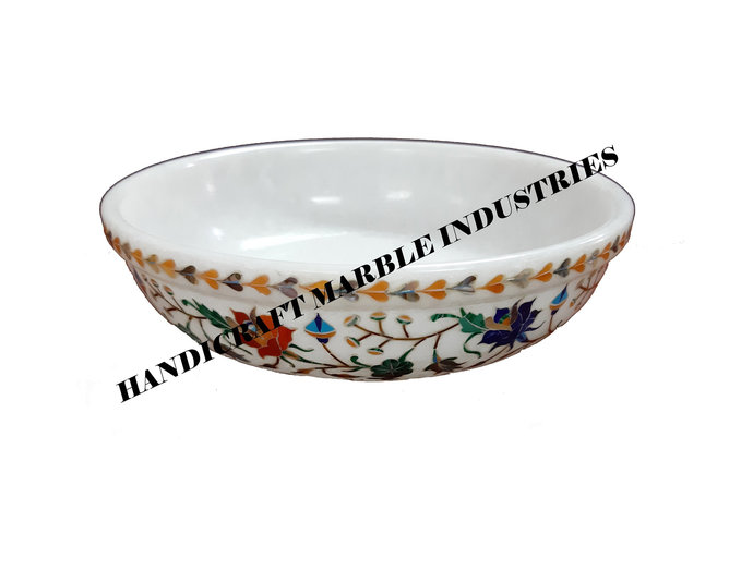 """8"""" Inch White Marble Fruit Bowl, Marble Inlay Bowl, Home Decor Bowl, Table Decor"""