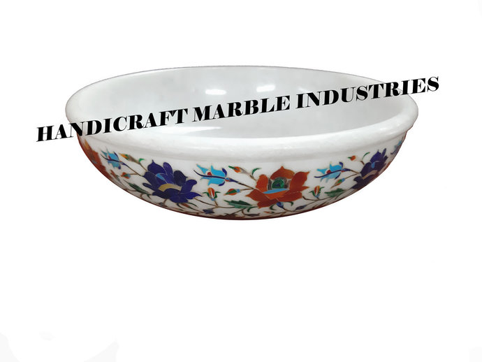 """10"""" White Marble Fruit Bowl, Fruit Bowl, Floral Multi Color Inlay Marquetry"""