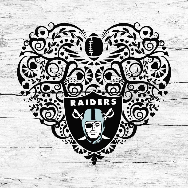 Las Vegas Raiders Heart Svg Nfl Svg Football By Seniorsvg On Zibbet