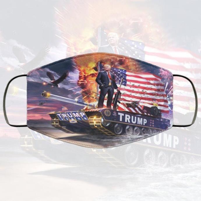MAGA Trump Tank Handmade Face Mask, Unisex 3 Layer Face Mask,Adult Kid Face