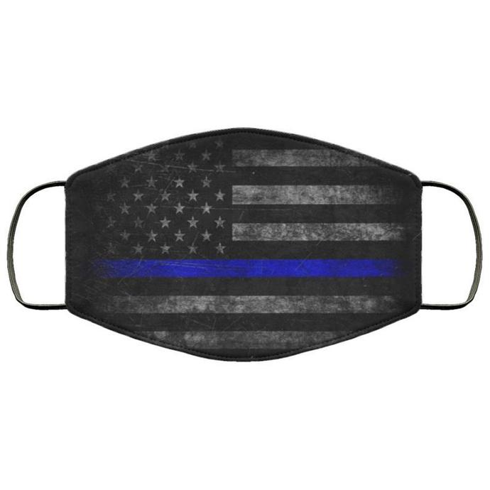 Thin Blue Line Handmade Face Mask, Unisex 3 Layer FaceMask,Adult Kid Face