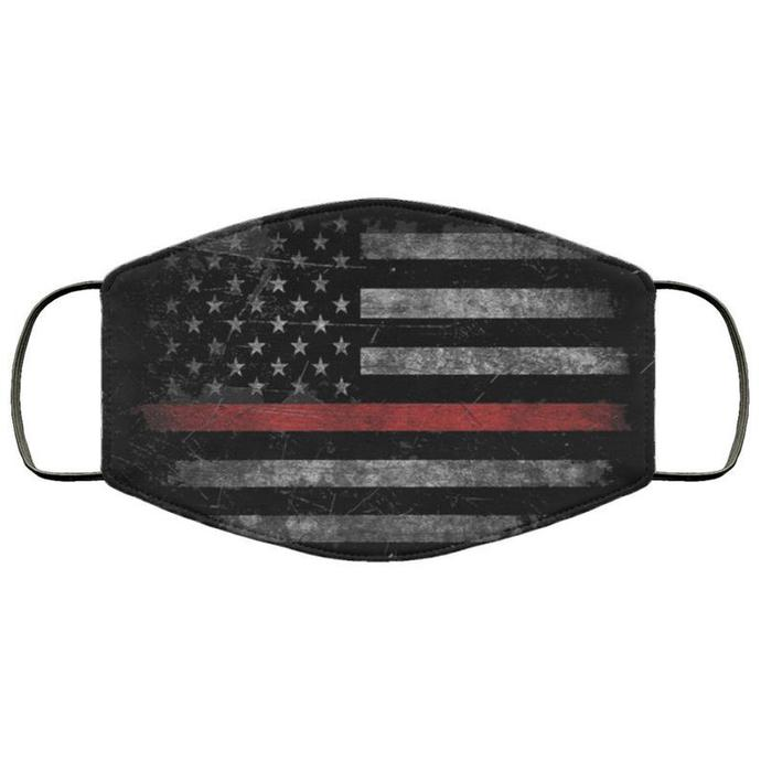 Thin Red Line Handmade Face Mask, Unisex 3 Layer Face Mask,Adult Kid Face