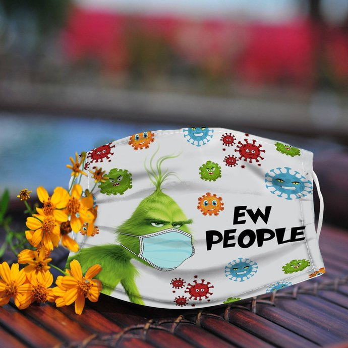 EW People Grinchy Cotton Filter Mask, Fabric Face mask, Washable and Reusable
