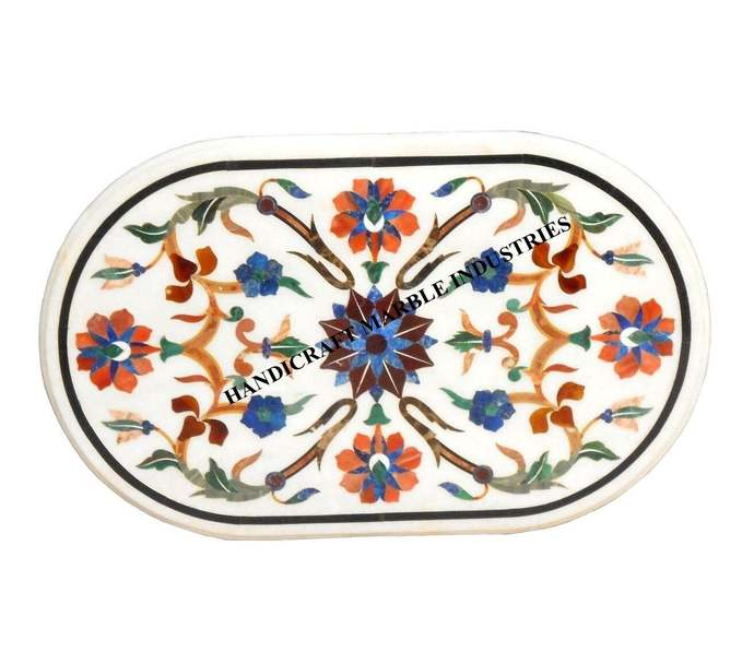 "Table 36"" X 24"" Inch Marble Inlay Oval Multi Color Floral Pietra Dura Marquetry"