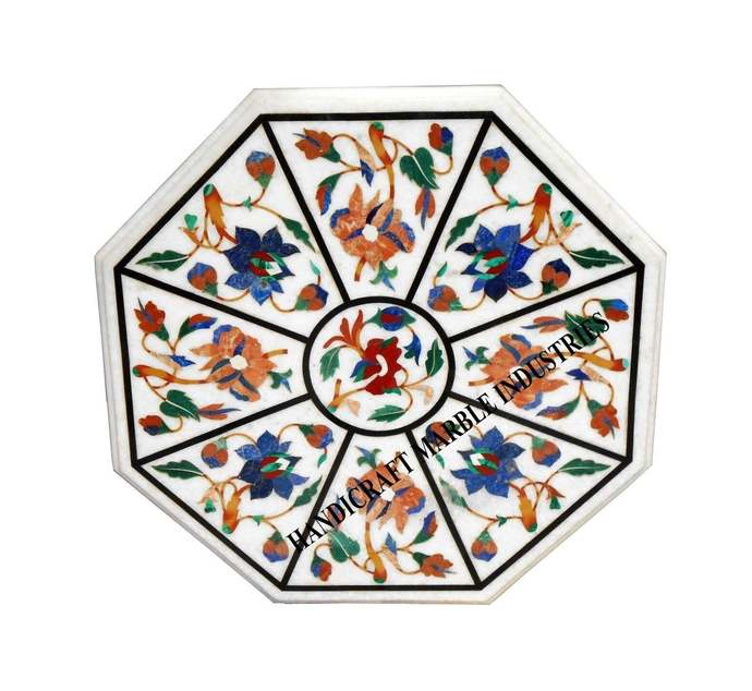 "Table 24"" X 24"" Inch Marble Inlay Multi Color Floral Pietra Dura Marquetry"