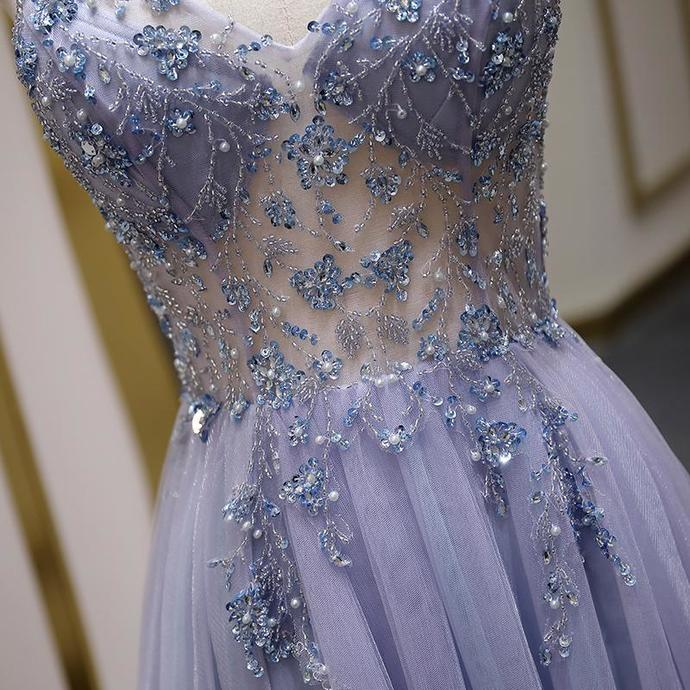 Beautiful Tulle Beaded Straps Slit Long Party Gown, Tulle Evening Dress
