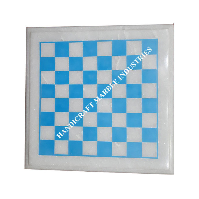 White Marble Chess Board Inlaid with Turquoise Blocks Chess Game, Corner Table,