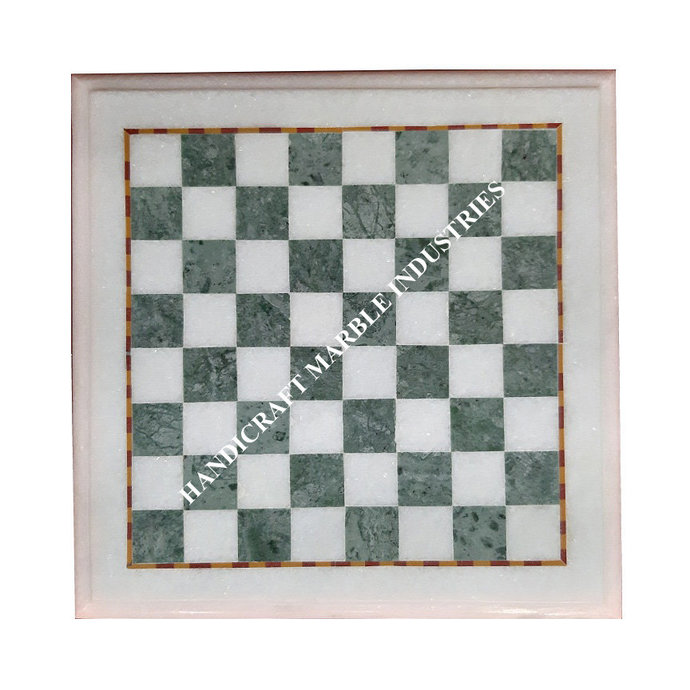 White Marble Chess Board Inlaid with Green Marble Blocks Chess Game, Corner