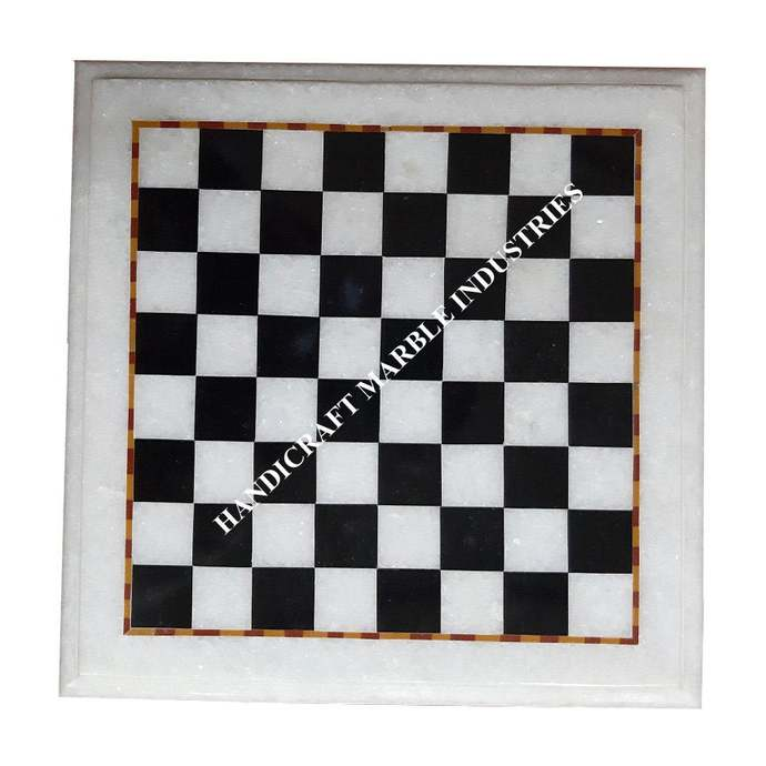 White Marble Chess Board Inlaid with Black Marble Blocks Chess Game, Corner