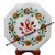 """10"""" inch Ganesha White Marble Octagon Table Top with Floral Marquetry Precious"""
