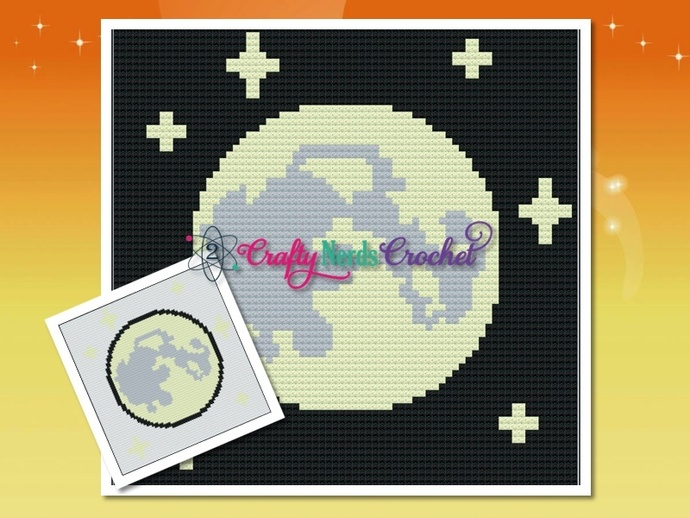 Full Moon Glow Pattern Graph With Single Crochet and C2C Written