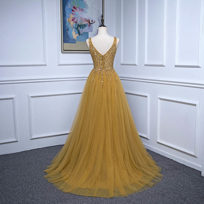 Beautiful Yellow Tulle Long Slit Beaded Party Gown, Tulle Prom Dress 2020