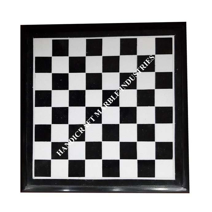 Black Marble Chess Board Inlaid with White Marble Blocks Chess Game, Corner