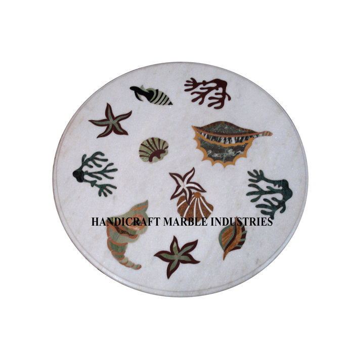 White Marble Coffee Center Table Top Modern Sea Animals Inlay Marquetry Decor