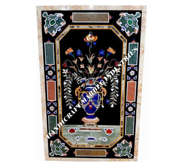Black Marble Inlay Dining Table/ Wall Decor Piece Semi Precious Stones Inlay