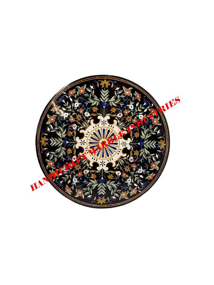 "36"" Round Marble Inlay Dining Table, Scagliola Art Round Black Marble Top,"
