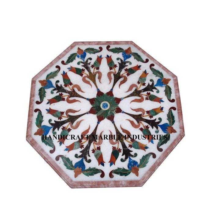 White Marble Coffee Center Table Top Modern Inlay Marquetry Decor Table Wall