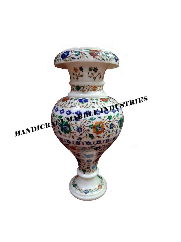 White Marble Inlay Flower Vase, Marble Flower Vase, Semi Precious Stones Inlay