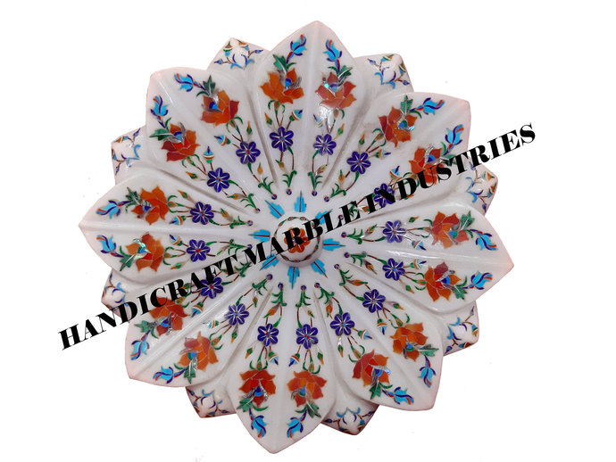 White Marble Fruit Bowl, Marble Bowl, Lotus Flower Design Bowl Floral Inlay