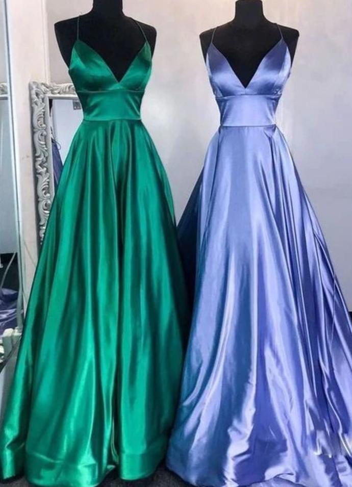 Simple v neck satin long prom dress satin evening dress