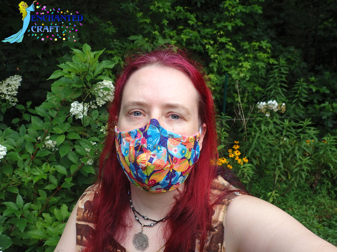 fun handmade washable face mask 100% cotton & flannel - wire at nose butterflies
