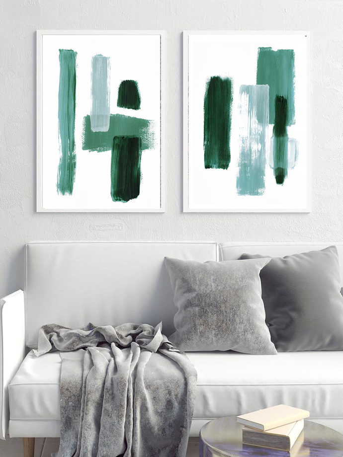 Abstract Art, forest green Brush Strokes, Minimalist Prints, Abstract Painting,