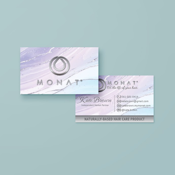 Liquid Marble Monat Business Cards, Personalized Golden Monat Hair Care Cards