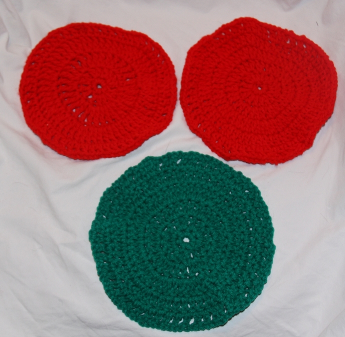 Pot Holder Hot Pad Set Red and Green Set of 3