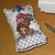 Cross Stitch Hand Knit Pin Cushion with Teddy Bear Picture
