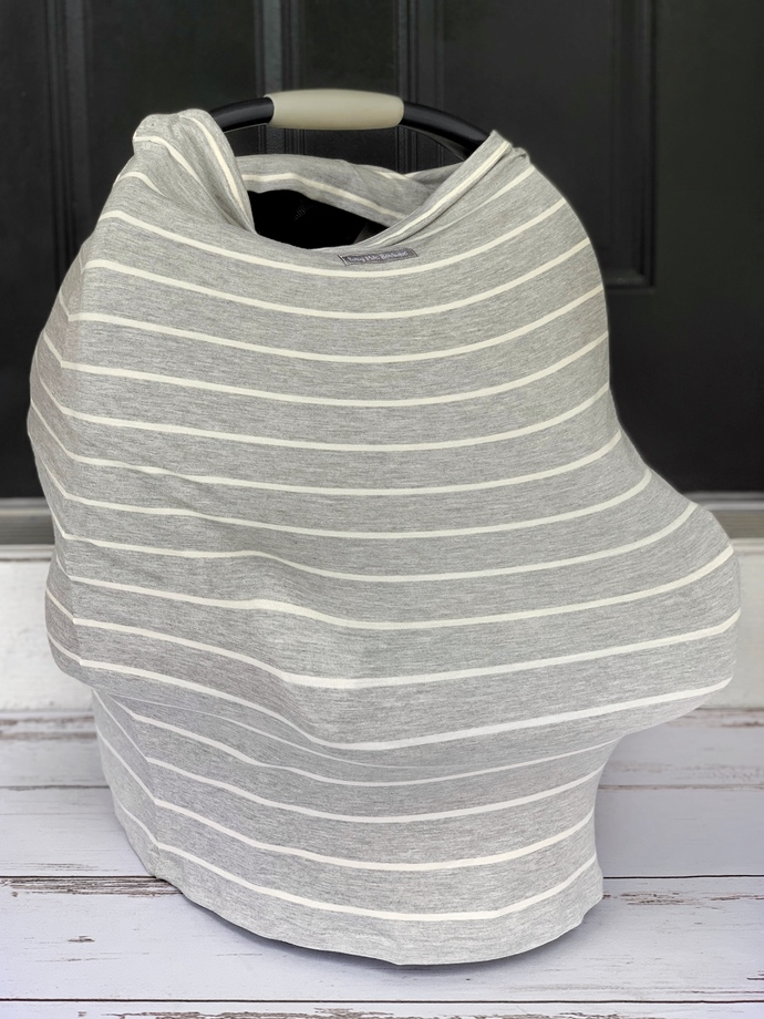 Gray & Ivory Striped Multi-Use Cover
