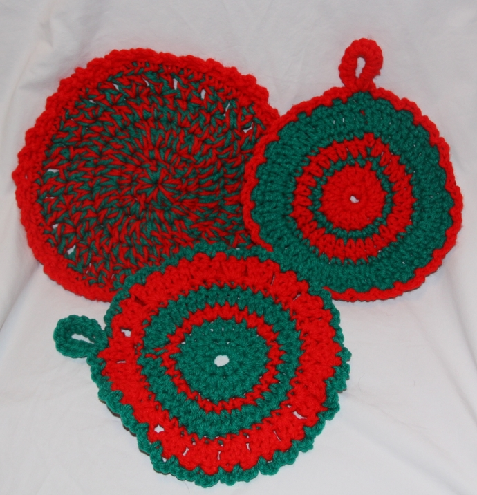 Pot Holders Hot Pad Set of 3 Red Green