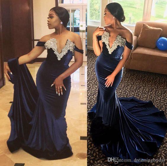 navy blue evening dresses long lace applique beaded mermaid velvet modest