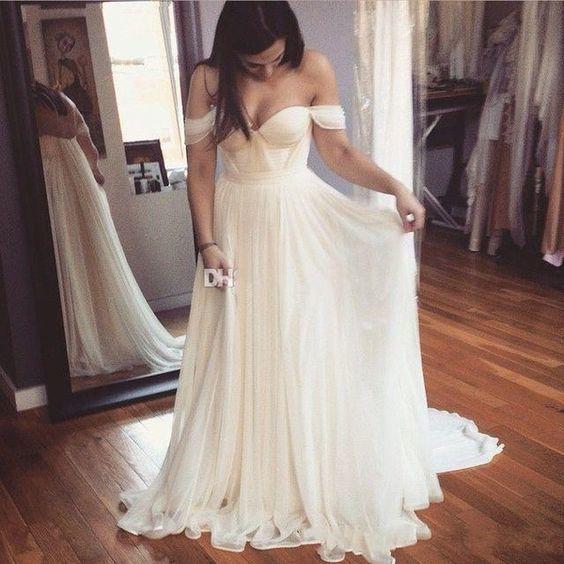 cheap bridal dresses 2020 off the shoulder chiffon beach wedding dresses 2021