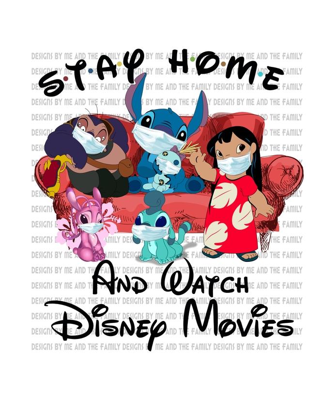 Stay home and watch Disney movies, Goofy, Daisy, Donald, Mickey, Minnie,