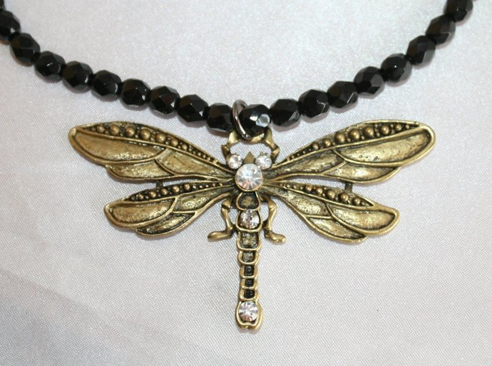 Sparkling Crystal Beaded Pendant Necklace, Brass Dragon Fly Pendant, Antique