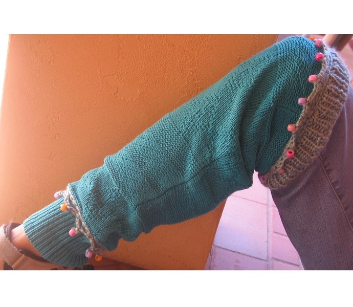 Beaded Leggings Turquoise Cotton with Hand Knit Trim