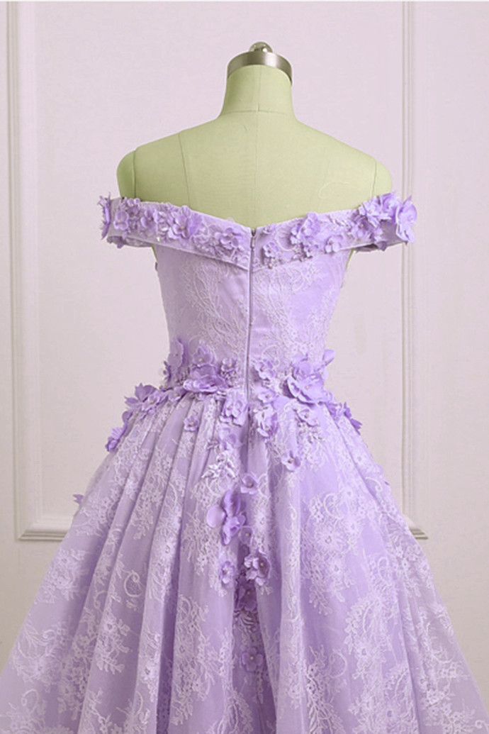 Cute Lace Short Homecoming Dress, Light Purple Party Dress