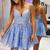 blue sleeveless v-neck short evening dresses spaghetti-straps applique lace