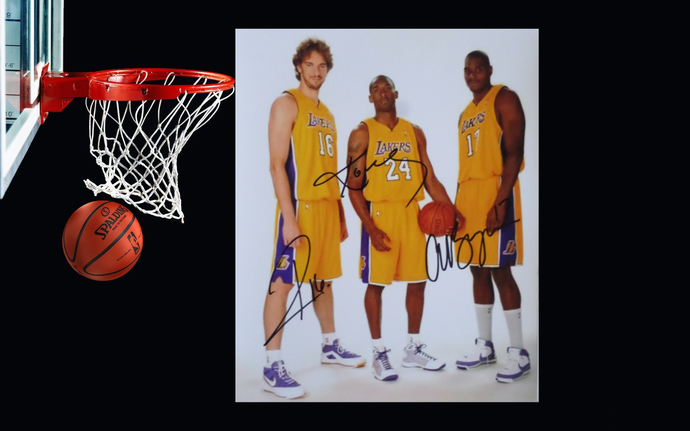 Kobe Bryant Powell Gasol and Andrew Paul Gasol and Andrew Bynum 8 by 10 signed
