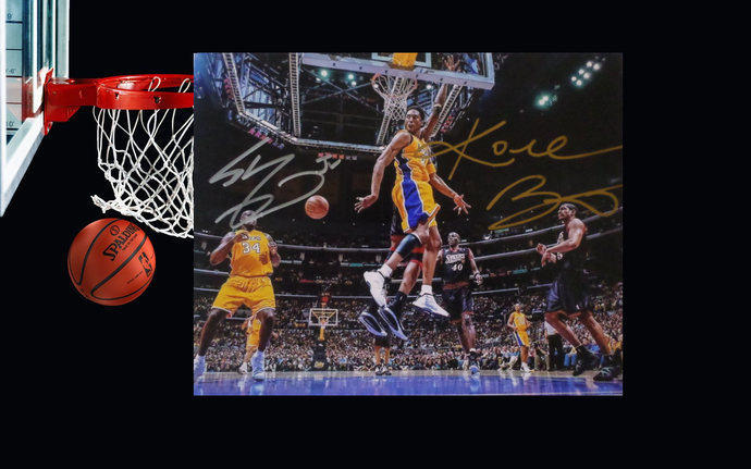 Kobe Bryant and Shaquille O'Neal Los Angeles Lakers 8 x 10 signed photo