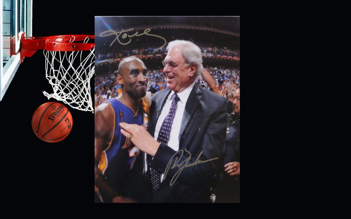 Phil Jackson and Kobe Bryant Los Angeles Lakers 8 by 10 signed photo